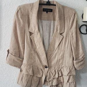 Nanette Lepore 3/4 sleeved ruffle front blazer